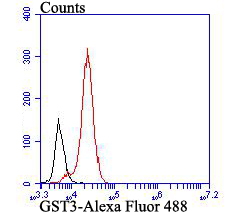 Flow cytometric analysis of GST3 was done on HCT116 cells. The cells were fixed, permeabilized and stained with GST3 antibody at 1/100 dilution (red) compared with an unlabelled control (cells without incubation with primary antibody; black). After incubation of the primary antibody on room temperature for an hour, the cells was stained with a Alexa Fluor™ 488-conjugated goat anti-mouse IgG Secondary antibody at 1/500 dilution for 30 minutes.