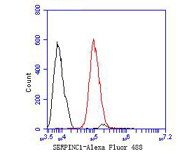 Flow cytometric analysis of SERPINC1 was done on HCT116 cells. The cells were fixed, permeabilized and stained with the primary antibody (EM1901-10, 1/50) (red). After incubation of the primary antibody at room temperature for an hour, the cells were stained with a Alexa Fluor 488-conjugated Goat anti-Mouse IgG Secondary antibody at 1/1000 dilution for 30 minutes.Unlabelled sample was used as a control (cells without incubation with primary antibody; black).