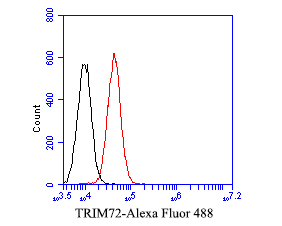 Flow cytometric analysis of TRIM72 was done on A549 cells. The cells were fixed, permeabilized and stained with the primary antibody (EM1901-45, 1/50) (red). After incubation of the primary antibody at room temperature for an hour, the cells were stained with a Alexa Fluor 488-conjugated Goat anti-Mouse IgG Secondary antibody at 1/1000 dilution for 30 minutes.Unlabelled sample was used as a control (cells without incubation with primary antibody; black).