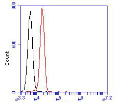 Flow cytometric analysis of Albumin was done on HepG2 cells. The cells were fixed, permeabilized and stained with the primary antibody (EM1901-80, 1/100) (red). After incubation of the primary antibody at room temperature for an hour, the cells were stained with a Alexa FluorTM488 Goat anti-Mouse IgG Secondary antibody at 1/500 dilution for 30 minutes.Unlabelled sample was used as a control (cells without incubation with primary antibody; blcak).