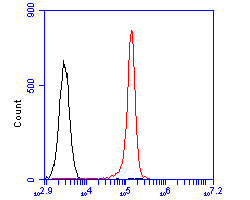 Flow cytometric analysis of CD79a was done on Daudi cells. The cells were fixed, permeabilized and stained with the primary antibody (EM1902-29, 1/100) (red). After incubation of the primary antibody at room temperature for an hour, the cells were stained with a Alexa Fluor 488-conjugated goat anti-mouse IgG Secondary antibody at 1/500 dilution for 30 minutes.Unlabelled sample was used as a control (cells without incubation with primary antibody; blcak).