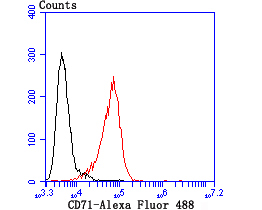 Flow cytometric analysis of HL-60 cells with CD71 antibody at 1/100 dilution (red) compared with an unlabelled control (cells without incubation with primary antibody; black). Alexa Fluor 488-conjugated Goat anti rabbit IgG was used as the secondary antibody.
