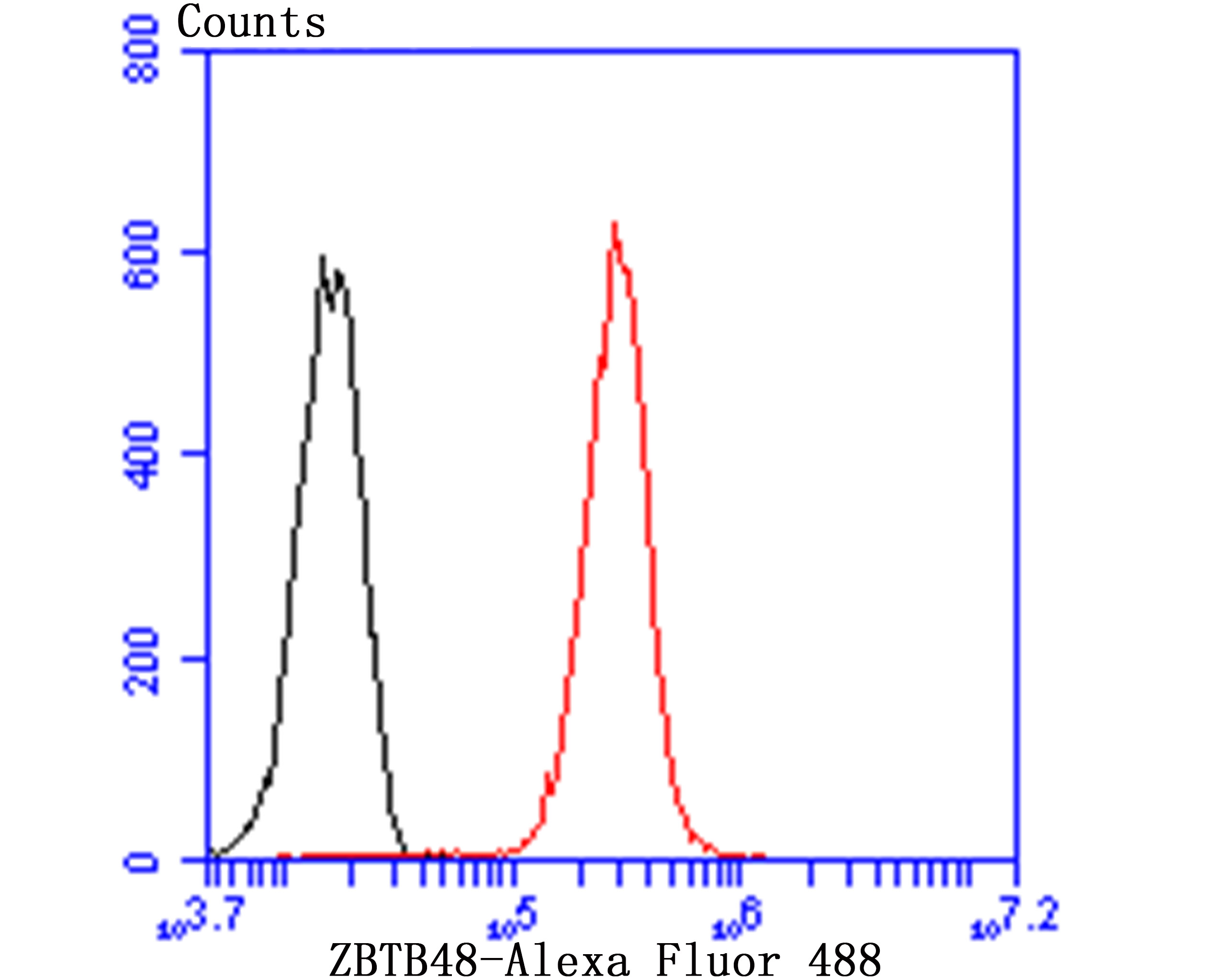 Flow cytometric analysis of Hela cells with ZBTB48 antibody at 1/50 dilution (red) compared with an unlabelled control (cells without incubation with primary antibody; black). Alexa Fluor 488-conjugated Goat anti rabbit IgG was used as the secondary antibody.