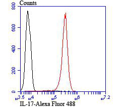 Flow cytometric analysis of Jurkat cells with IL-17 antibody at 1/100 dilution (red) compared with an unlabelled control (cells without incubation with primary antibody; black).