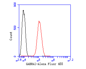 Flow cytometric analysis of GABRA1 was done on SH-SY5Y cells. The cells were fixed, permeabilized and stained with the primary antibody (ER1901-59, 1/50) (red). After incubation of the primary antibody at room temperature for an hour, the cells were stained with a Alexa Fluor 488-conjugated Goat anti-Rabbit IgG Secondary antibody at 1/1000 dilution for 30 minutes.Unlabelled sample was used as a control (cells without incubation with primary antibody; black).