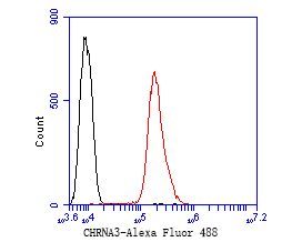 Flow cytometric analysis of CHRNA3 was done on SH-SY5Y cells. The cells were fixed, permeabilized and stained with the primary antibody (ER1902-13, 1/50) (red). After incubation of the primary antibody at room temperature for an hour, the cells were stained with a Alexa Fluor 488-conjugated Goat anti-Rabbit IgG Secondary antibody at 1/1000 dilution for 30 minutes.Unlabelled sample was used as a control (cells without incubation with primary antibody; black).