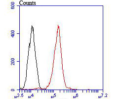 Flow cytometric analysis of CD68 was done on THP-1 cells. The cells were fixed, permeabilized and stained with the primary antibody (ER1902-74, 1/100) (red). After incubation of the primary antibody at room temperature for an hour, the cells were stained with a Alexa Fluor 488-conjugated goat anti-rabbit IgG Secondary antibody at 1/500 dilution for 30 minutes.Unlabelled sample was used as a control (cells without incubation with primary antibody; blcak).