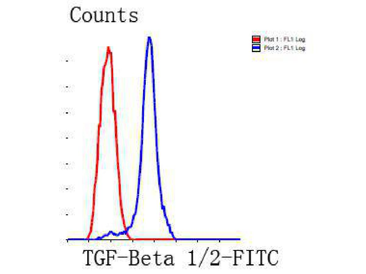 Flow cytometric analysis of HepG2 cells with TGF-Beta 1 antibody at 1/100 dilution (blue) compared with an unlabelled control (cells without incubation with primary antibody; red). Goat anti rabbit IgG (FITC) was used as the secondary antibody.
