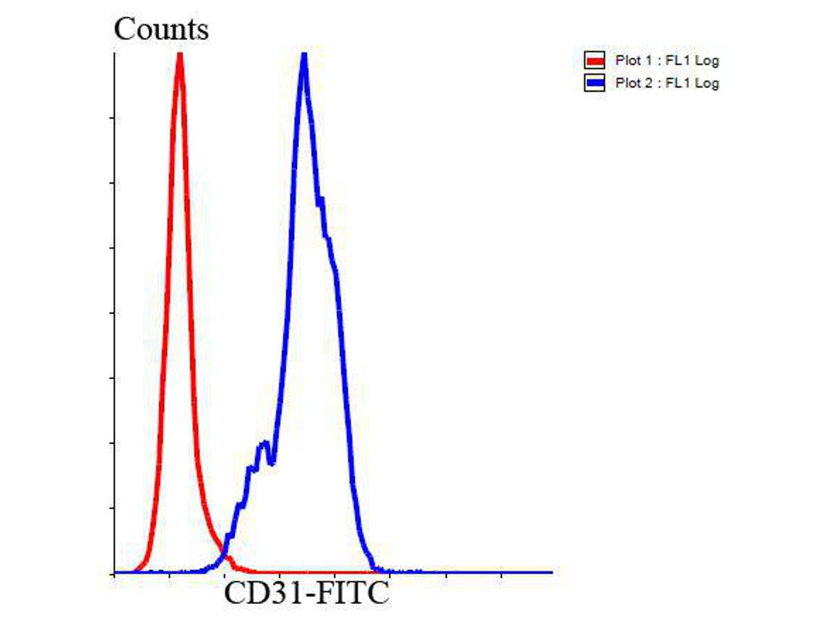 Flow cytometric analysis of Jurkat cells with CD31 antibody at 1/100 dilution (blue) compared with an unlabelled control (cells without incubation with primary antibody; red). Goat anti rabbit IgG (FITC) was used as the secondary antibody.