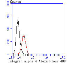 Flow cytometric analysis of Jurkat cells with Integrin alpha 4 antibody at 1/100 dilution (red) compared with an unlabelled control (cells without incubation with primary antibody; black). Alexa Fluor 488-conjugated Goat anti mouse IgG was used as the secondary antibody.