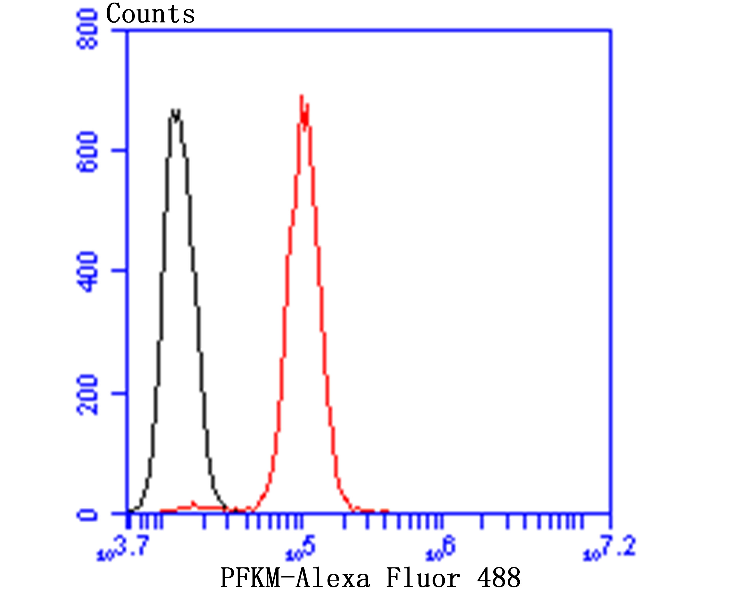 Flow cytometric analysis of SH-SY-5Y cells with Fructose 6 Phosphate Kinase antibody at 1/100 dilution (red) compared with an unlabelled control (cells without incubation with primary antibody; black). Alexa Fluor 488-conjugated goat anti-rabbit IgG was used as the secondary antibody.