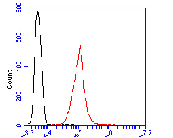 Flow cytometric analysis of Mono-mehtyl-Histone H3(Lys4) was done on SHSY5Y cells. The cells were fixed, permeabilized and stained with the primary antibody (R1110-1, 1/50) (red). After incubation of the primary antibody at room temperature for an hour, the cells were stained with a Alexa Fluor 488-conjugated Goat anti-Rabbit IgG Secondary antibody at 1/1000 dilution for 30 minutes.Unlabelled sample was used as a control (cells without incubation with primary antibody; black).