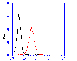 Flow cytometric analysis of SIRP alpha was done on THP-1 cells. The cells were fixed, permeabilized and stained with the primary antibody (EM1902-37, 1/100) (red). After incubation of the primary antibody at room temperature for an hour, the cells were stained with a Alexa Fluor 488-conjugated goat anti-mouse IgG Secondary antibody at 1/500 dilution for 30 minutes.Unlabelled sample was used as a control (cells without incubation with primary antibody; blcak).