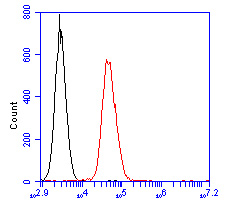 Flow cytometric analysis of CD35 was done on Daudi cells. The cells were fixed, permeabilized and stained with the primary antibody (ER2001-14, 1/100) (red). After incubation of the primary antibody at room temperature for an hour, the cells were stained with a Alexa Fluor 488-conjugated goat anti-rabbit IgG Secondary antibody at 1/500 dilution for 30 minutes.Unlabelled sample was used as a control (cells without incubation with primary antibody; blcak).
