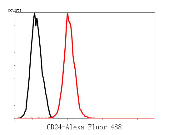 Flow cytometric analysis of CD24 was done on MCF-7 cells. The cells were fixed, permeabilized and stained with the primary antibody (0804-4, 1/50) (red). After incubation of the primary antibody at room temperature for an hour, the cells were stained with a Alexa Fluor 488-conjugated Goat anti-Rabbit IgG Secondary antibody at 1/1000 dilution for 30 minutes.Unlabelled sample was used as a control (cells without incubation with primary antibody; black).