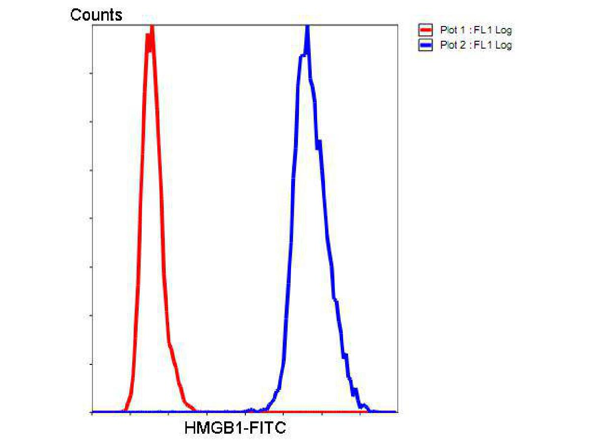 Flow cytometric analysis of HMGB1 cells with HMGB1 antibody at 1/50 dilution (blue) compared with an unlabelled control (cells without incubation with primary antibody; red). Goat anti rabbit IgG (FITC) was used as the secondary antibody.